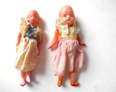 2 Miniature Celluloid Doll