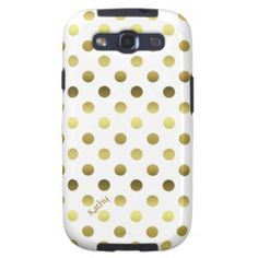 Glam Gold and White Polka Dot Samsung Galaxy S3 Cases
