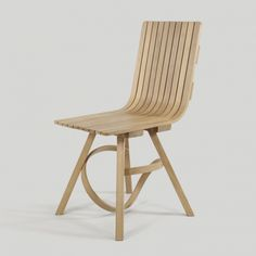 English oak chair made from steam bent wood by Tom Raffield