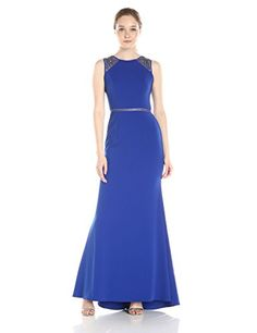"Carmen Marc Valvo Infusion Women's Jewel Neck Gown with Illusion Shoulder, Cobalt, 2 Jewel neck gown with embellished illusion shoulders and waistbandJewel neckGown Related Post Perséphone – Ascension ""Roots"" – Dub/Reggae Beat by Bridesmaid Dresses, Prom Dresses, Wedding Dresses, Carmen Marc Valvo, Stylish Eve, Formal Dresses For Women, Gowns Online, Illusion, Womens Fashion"
