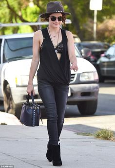 Airing her wares: Lucy Hale flashed her lingerie as she went for a stroll in…