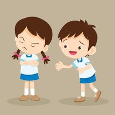 Upset student girl and her friend try to talk.Boy reconciled to angry girl hope Forgive him. Kids Cartoon Characters, Cartoon Kids, Cute Cartoon, Teaching Empathy, Teaching Kids, Kids Learning, Sad Child, Angry Child, Angry Girl