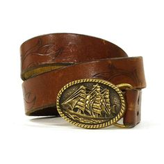 Tooled Leather Belt with Pirate Ship Buckle / Vintage 1980s Brown Leather Belt $36.00