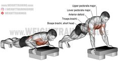Exercise name: Incline push-up. Synergists: Upper Pectoralis Major Anterior Deltoid and Triceps Brachii. Dynamic stabilizer: Biceps Brachii (short head only). Best Shoulder Workout, Best Chest Workout, Chest Workouts, Squat Workout, Plank Workout, Workout Guide, Workout Videos, Fitness Workouts, Weight Training Workouts