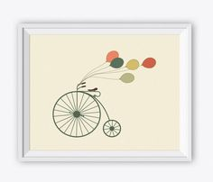 Printable Vintage Bicycle Art Print - Digital Kitchen Wall Art. Kids Room Wall Art. Baby Room Decor. Vintage Decor Bicycle. Nursery Wall Art