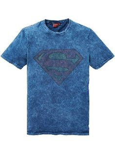 Licence Superman T-Shirt Regular Superman Acid Wash Print T-Shirt, Crew neck T-Shirt in a faded blue fabric with a large Superman Logo printed across the chest. http://www.MightGet.com/january-2017-13/licence-superman-t-shirt-regular.asp