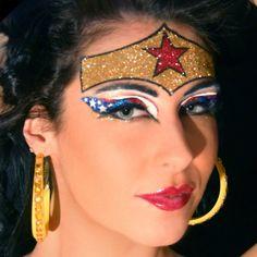 halloween idea, wonder women, halloween costumes, halloween makeup, glitter makeup