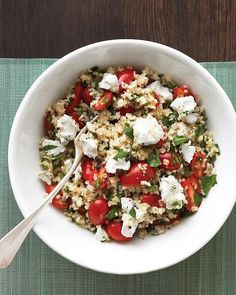 Could You Eat Pizza With Sort Two Diabetic Issues? Mediterranean Grain Salad: Enjoy This Satisfying Vegetarian Main: A Generous Bulgur Salad With Crumbled Goat Cheese And Juicy Tomatoes. Easy Dinners For One, Meals For One, Simple Meals, Simple Dinner For One, Easy One Person Meals, Recipes For One Person, Quick Meals, Vegetarian Recipes, Cooking Recipes