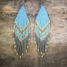 Blue and Gray Seed Bead Earrings Brick Stitch Earrings, Seed Bead Earrings, Etsy Earrings, Seed Beads, Blue Earrings, Hoop Earrings, Beaded Earrings Patterns, Baubles And Beads, Stainless Steel Earrings