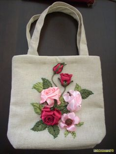 Roses on a bag #ribbonEmbroidery