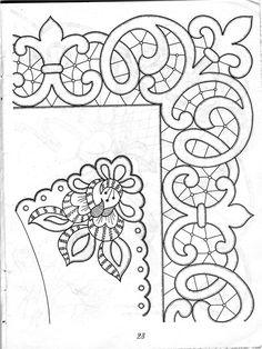 Lene Richelieu e Bainha Aberta: Riscos de richelieu da net Cutwork Embroidery, Vintage Embroidery, Embroidery Stitches, Embroidery Patterns, Machine Embroidery, Parchment Craft, Point Lace, Cut Work, Lace Making