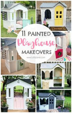 Did you know that you can paint a plastic playhouse? Check out these 11 must see painted playhouse makeover ideas. Warning: you'll want to move in yourself. Kids Plastic Playhouse, Painted Playhouse, Little Tikes Playhouse, Diy Playhouse, Playhouse Outdoor, Toddler Playhouse, Wooden Playhouse, Kids Outdoor Play, Kids Play Area