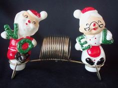 VINTAGE HOLT HOWARD STYLE PIXIE SANTA NOEL CHRISTMAS SHAKERS NAPKIN CARD HOLDER | eBay