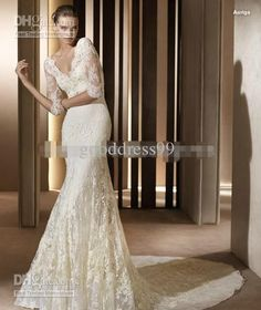 Wholesale 2012 New Style Sexy Wedding gown Mermaid/Trumpet V Neck short sleeve Chapel lace Wedding dress, Free shipping, $140.99-171.96/Piece | DHgate