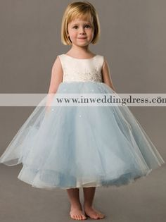 cheap flower girl dresses_Ivory / Robin's Egg Blue