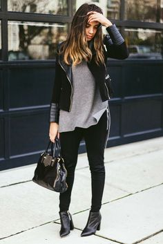 Faux leather jacket + Leggings + Boots