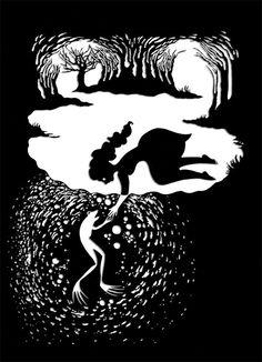 Поразительные черно-белые рисунки Проиллюстрировать Братья Гримм Сказки - Мой Современная Met