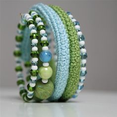 very cool crochet, bead, and wire bracelet.