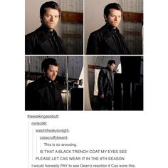 Misha Collins - I don't ship Destiel, but this is awesome Castiel, Supernatural Destiel, Crowley, Misha Collins, Jensen Ackles, Fandoms, Cw Series, Winchester Boys, Super Natural