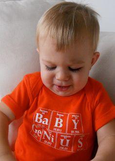 The Original BABY GENIUS Periodic Table Onesie by Periodically Inspired- 6 month Oxygen Orange