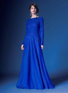 Tadashi Shoji Long Sleeve Gown in Mystic Blue