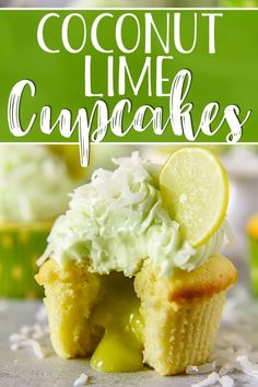 These Coconut Lime Cupcakes are the sweet-tart springtime treats of your dreams, and perfect for lovers of the tropics! Fluffy coconut-infused cupcakes are stuffed with tangy key lime curd, then topped with a crown of lime cream cheese buttercream and a sprinkle of flaked coconut. #crumbykitchen #keylime #coconut #lime #cupcakes #dessert #dessertrecipes #recipe #spring #summer #cincodemayo #tropical #limecurd #sweets