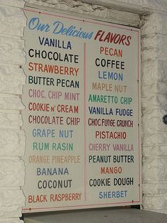 Ice Cream Flavors List | Here's the list of ice cream flavors, which is displayed outside.