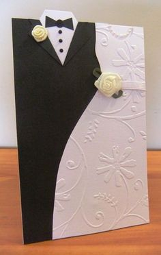 Beautiful wedding card. Love the DIY instructions. - Done 6/6/13. Can make just suit for mens birthday or Fathers Day card, or just dress for bridesmaid, Mothers Day, or birthday.