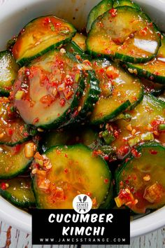 Korean recipe for spicy cucumber side dish. Spicy Cucumber Salad, Cucumber Kimchi, Cucumber Recipes, Cooked Cucumber, Vegan Recipes Easy, Veggie Recipes, Asian Recipes, Vegetarian Recipes, Gastronomia
