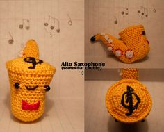 Somewhat Chubby Saxophone Amigurumi by TheSmall-Stuff