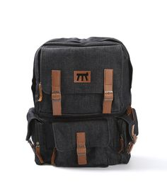 Mosack Series Black by Modjo Bags. Bags crafted from denim dry 12oz in black color and synthetic leather in brown color. Feature 4 magnetic-bulk pockets, fit up 14 inches Laptop, organizer inside and also has adjustable strap.  http://www.zocko.com/z/JKDzo