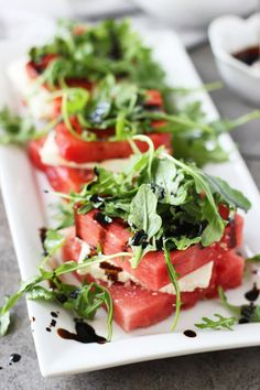 This grilled watermelon and feta stacked salad is a gourmet update on everyone's favorite summer fruit.