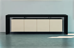 MOVIMENT-0 Line, Model 55. #credenza with lacquered MDF #wooden frame, main body in lacquered MDF #wood with #metal doors. Ronda Design.