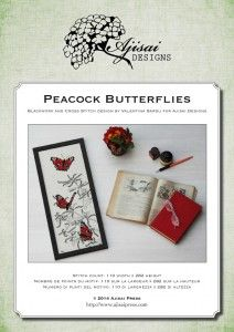 Cross Stitch and Blackwork Design: Peacock Butterflies