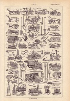 1922 Vintage AGRICULTURE French Dictionary Illustration. $18.00, via Etsy.