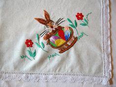 Vintage embroidered Easter table runner