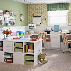 This home office is the perfect fit for an active family. A pair of corner desks and mix-and-match modular storage units line the walls, keeping the room open and providing plenty of work space for each member of the family. The versatile modular units can configure to store just about anything. White, beaded-board paneling wraps around the room, making the space brighter and creating additional storage on the deep ledge.