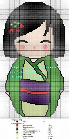 Encontrado en grillespondecroixetcie.blogspot.fr Mulan Kokeshi pattern by grilles point de croix et cie