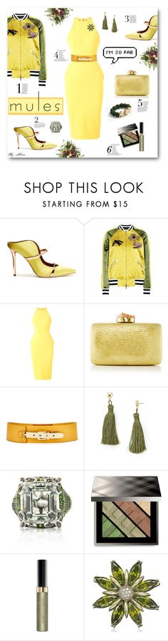 """Slip 'Em On: Mules"" by jelenalazarevicpo ❤ liked on Polyvore featuring Malone Souliers, Valentino, Alex Perry, Kayu, Nine to Five, Aqua, Belk & Co., Burberry, Max Factor and Suzy Levian"