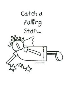 Falling Star Angel Coloring Page / Print for Stitchery