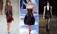 Burberry Prorsum, Dior e Yves Saint Laurent han presentado sus propias versiones de la falda de cuero. Cada uno a su estilo.