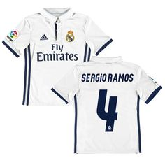 ef26ea694 Sergio Ramos Real Madrid adidas Youth 2016 17 Home Replica Jersey - White