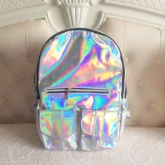 Holographic hologram backpack silver for Sale in Chandler, AZ - OfferUp Silver Backpacks, Cute Backpacks, Girl Backpacks, Mochila Kpop, Mochila Jansport, Tmblr Girl, Holographic Fashion, Holographic Bag, Mode Kawaii