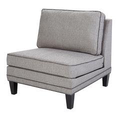 Madison Park Signature Gordon Modular Armless Lounge Chair, Grey