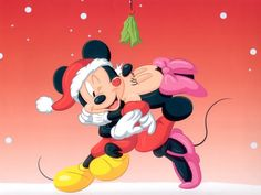 Mickey & Minnie kiss under the mistletoe