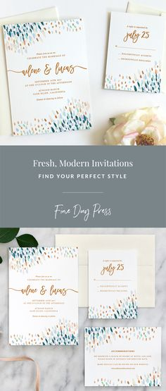 Fresh, modern wedding invitations on luxe cotton stock by Fine Day Press