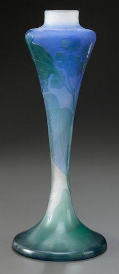 Art Glass:Galle, GALLÉ OVERLAY GLASS FLORAL VASE. Circa 1900, Cameo: Gallé.11-1/4 inches high (28.6 cm)   JV
