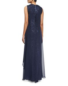 Sleeveless Sequined Overlay Gown, Midnight