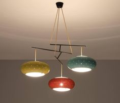 Angelo Lelli Attributed Ceiling Light for Arredoluce | From a unique collection of antique and modern chandeliers and pendants at https://www.1stdibs.com/furniture/lighting/chandeliers-pendant-lights/