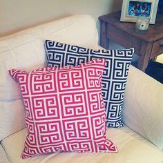 Greek Key Pillow Cover — Hot Pink